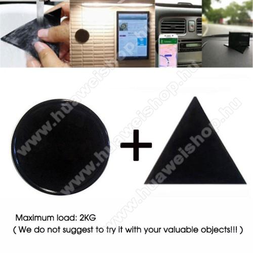 HUAWEI MatePad T8UNIVERZÁLIS Magical Gel csúszásgátló pad gépkocsi műszerfalra / asztalra  - 2db, kör és háromszög alakú 78mm, mosható, maximum 2kg-ig terhelhető! - NANO-PAD tulajdonság - FEKETE