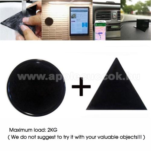APPLE iPad AirUNIVERZÁLIS Magical Gel csúszásgátló pad gépkocsi műszerfalra / asztalra  - 2db, kör és háromszög alakú 78mm, mosható, maximum 2kg-ig terhelhető! - NANO-PAD tulajdonság - FEKETE