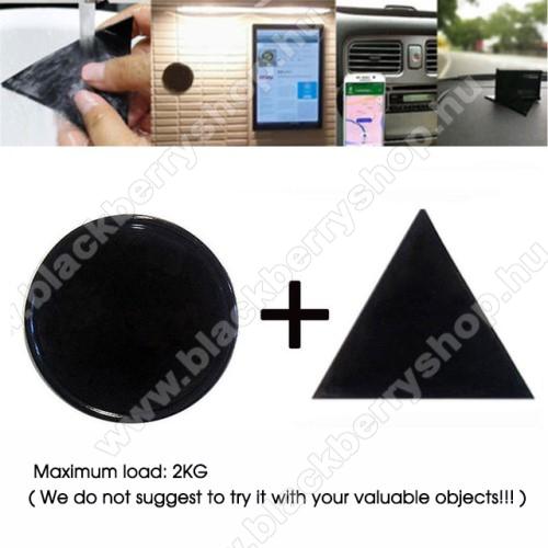 BLACKBERRY 9700 BoldUNIVERZÁLIS Magical Gel csúszásgátló pad gépkocsi műszerfalra / asztalra  - 2db, kör és háromszög alakú 78mm, mosható, maximum 2kg-ig terhelhető! - NANO-PAD tulajdonság - FEKETE