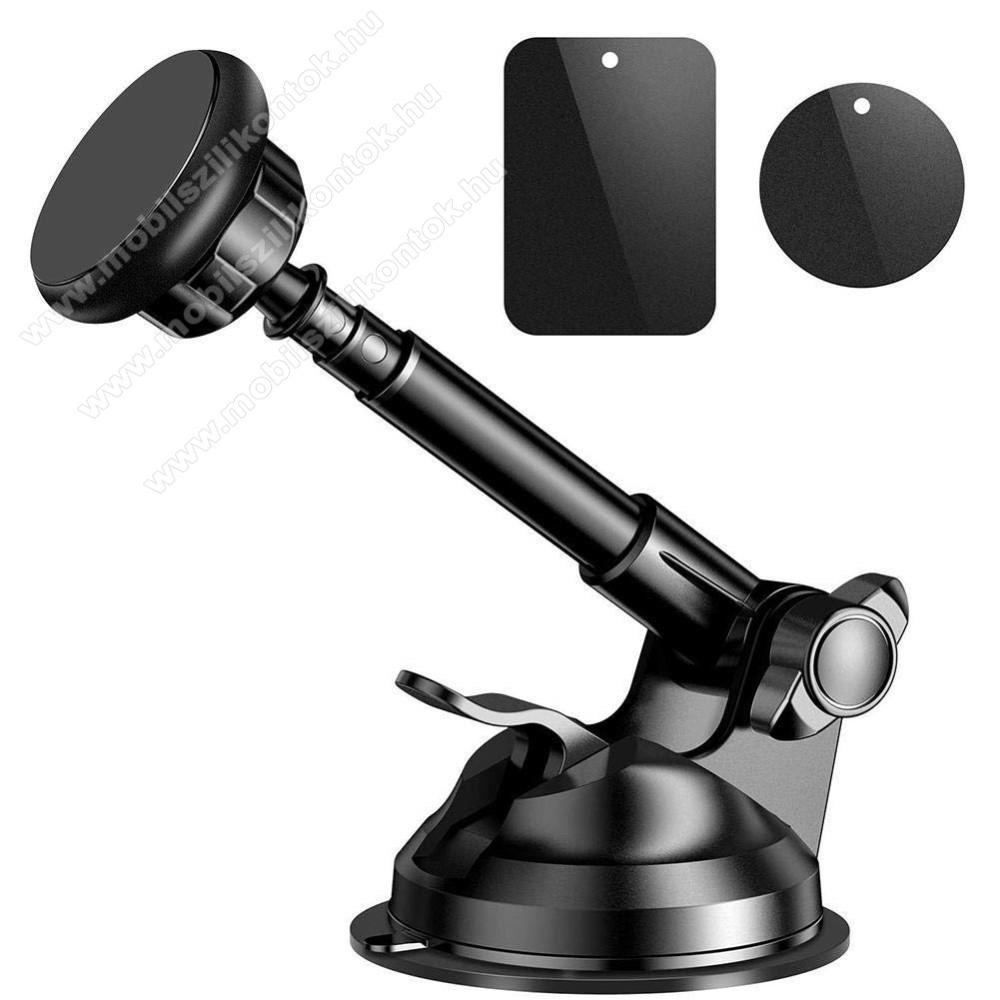 UNIVERZÁLIS Mágneses autós tartó / állvány - tapadókorongos, szélvédőre vagy műszerfalra helyezhetõ, 360°-ban forgatható - FEKETE