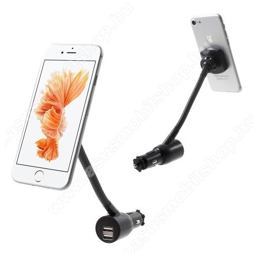 UNIVERZÁLIS mágneses gépkocsi / autós tartó - szivargyújtó töltő adapterbe helyezhető + szivargyújtó és 2db USB aljzattal (5V / 3100mAh), mágneses - FEKETE