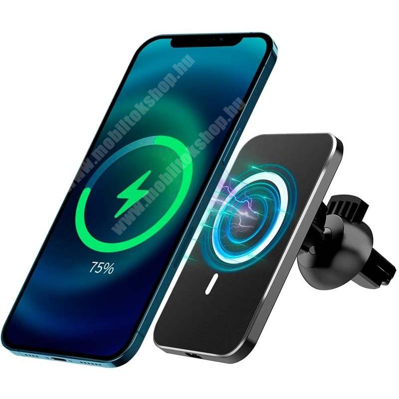 UNIVERZÁLIS mágneses gépkocsi / autós telefon tartó állvány - FEHÉR - Apple magsafe kompatibilis, beépített QI Wireless vezetéknélküli töltő funkcióval, fogadóegység nélkül, szellőzőrácsra rögzíthető, 360°-ban forgatható - MAGHOL - GYÁRI