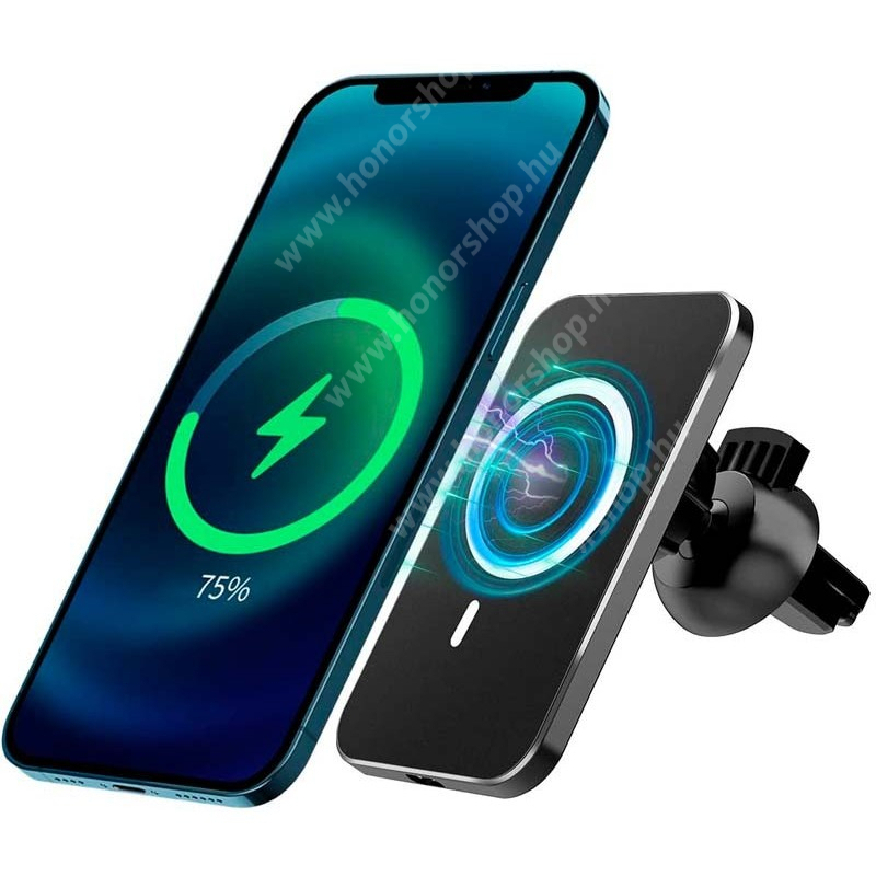 HUAWEI Honor V40 5G UNIVERZÁLIS mágneses gépkocsi / autós telefon tartó állvány - FEHÉR - Apple magsafe kompatibilis, beépített QI Wireless vezetéknélküli töltő funkcióval, fogadóegység nélkül, szellőzőrácsra rögzíthető, 360°-ban forgatható - MAGHOL - GYÁRI