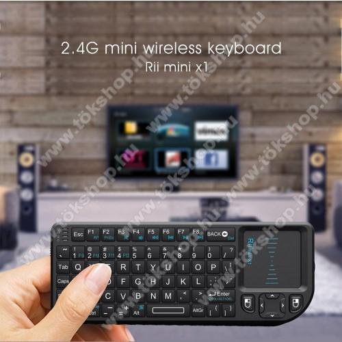 UNIVERZÁLIS mini hordozható 2.4G Wireless billentyűzet / Touchpad - automatikus alvás és ébresztés, ANGOL kiosztású!, 350mAh beépített akkumulátor, PC, Mac, Xbox, Playstation, Google Android TV Box, HTPC, IPTV- hez - FEKETE