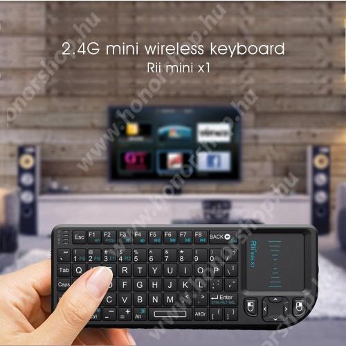 HUAWEI Honor V40 5G UNIVERZÁLIS mini hordozható 2.4G Wireless billentyűzet / Touchpad - automatikus alvás és ébresztés, ANGOL kiosztású!, 350mAh beépített akkumulátor, PC, Mac, Xbox, Playstation, Google Android TV Box, HTPC, IPTV- hez - FEKETE