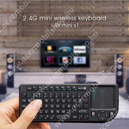 ACER Liquid Z3 UNIVERZÁLIS mini hordozható 2.4G Wireless billentyűzet / Touchpad - automatikus alvás és ébresztés, ANGOL kiosztású!, 350mAh beépített akkumulátor, PC, Mac, Xbox, Playstation, Google Android TV Box, HTPC, IPTV- hez - FEKETE
