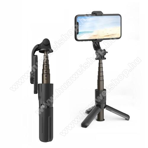 UNIVERZÁLIS mini teleszkópos selfie bot és tripod állvány - BLUETOOTH KIOLDÓVAL, 360 fokban forgatható, 65-95mm-ig nyíló bölcső, max 15-65cm hosszú nyél - FEKETE