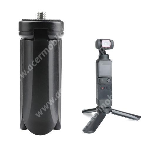"""ACER Liquid Z3 UNIVERZÁLIS mini TRIPOD állvány - 1/4""""-os rögzítő univerzális csavarral, csúszásgátló, DLSR kamera / DJI OSMO 3/ 2 / 1 / GoPro kompatibilis, 80 x 30mm - FEKETE"""