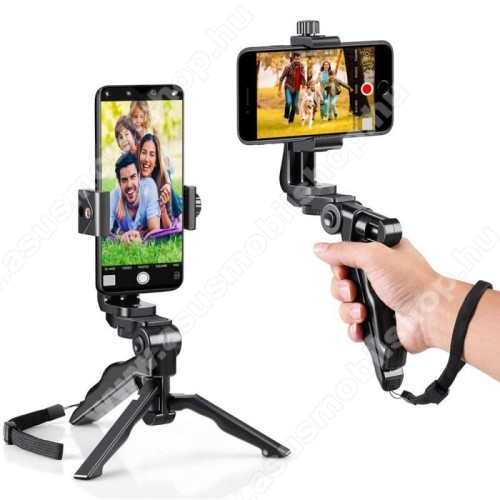 ASUS ROG Phone 5 ProUNIVERZÁLIS Mini TRIPOD állvány - 58-105mm-es bölcsővel, csuklópánt, 360 fokban forgatható, max. 1kg teherbírás, 1/4