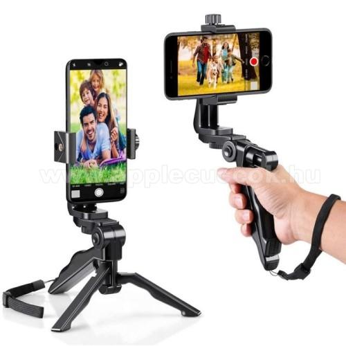 APPLE iPhone XUNIVERZÁLIS Mini TRIPOD állvány - 58-105mm-es bölcsővel, csuklópánt, 360 fokban forgatható, max. 1kg teherbírás, 1/4