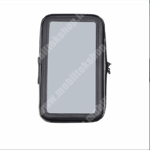 Elephone P3000 UNIVERZÁLIS motorkerékpáros tartó konzol mobiltelefon készülékekhez - 151 x 72mm-es bölcső, cseppálló védő tokos kialakítás, elforgatható, 3M-es ragasztóval rögzíthető - FEKETE