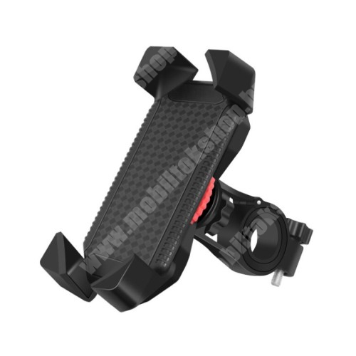 """LG G4c (H525N) UNIVERZÁLIS motoros / kerékpáros tartó konzol mobiltelefon készülékekhez - kormányra rögzíthető, 360°-ban elforgatható, 4-7""""-os készülékekhez - FEKETE"""