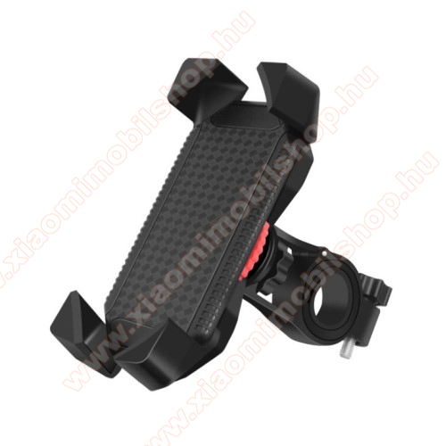 UNIVERZÁLIS motoros / kerékpáros tartó konzol mobiltelefon készülékekhez - kormányra rögzíthető, 360°-ban elforgatható, 4-7