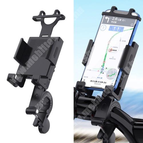 """Blackphone UNIVERZÁLIS motoros / kerékpáros tartó konzol mobiltelefon készülékekhez - szilikon, kormányra rögzíthető 19-35mm-ig, 95mm-ig nyíló telefonbölcső, 4-6.7""""-os készülékekhez - FEKETE"""