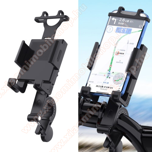 UNIVERZÁLIS motoros / kerékpáros tartó konzol mobiltelefon készülékekhez - szilikon, kormányra rögzíthető 19-35mm-ig, 95mm-ig nyíló telefonbölcső, 4-6.7