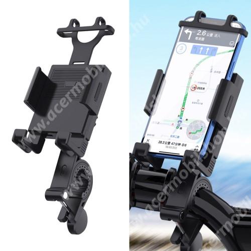 """ACER Liquid Z3 UNIVERZÁLIS motoros / kerékpáros tartó konzol mobiltelefon készülékekhez - szilikon, kormányra rögzíthető 19-35mm-ig, 95mm-ig nyíló telefonbölcső, 4-6.7""""-os készülékekhez - FEKETE"""