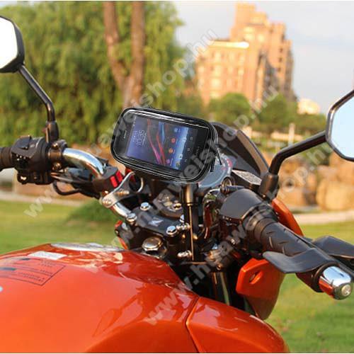 HUAWEI nova 5i ProUNIVERZÁLIS motoros telefon tartó - 360°-ban forgatható, 165 x 90mm-es zárt, zipzáras bölcsővel - FEKETE