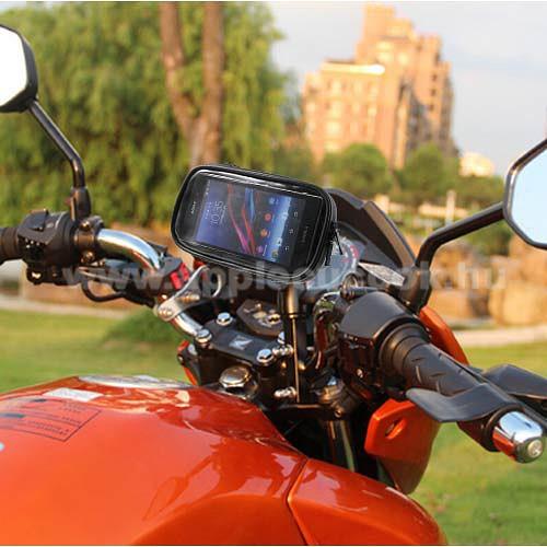 APPLE iPhone XrUNIVERZÁLIS motoros telefon tartó - 360°-ban forgatható, 165 x 90mm-es zárt, zipzáras bölcsővel - FEKETE