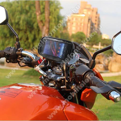 Motorola Moto Z4UNIVERZÁLIS motoros telefon tartó - 360°-ban forgatható, 165 x 90mm-es zárt, zipzáras bölcsővel - FEKETE