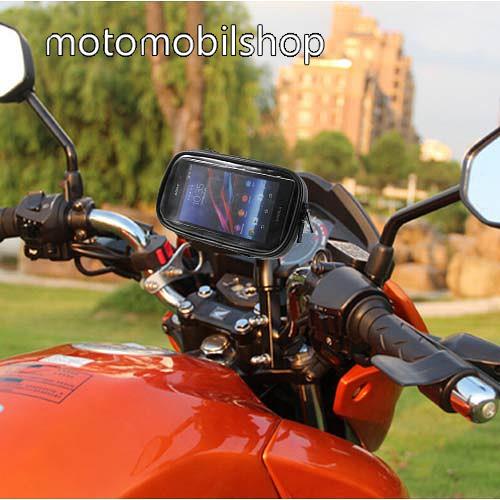MOTOROLA Moto Z4 UNIVERZÁLIS motoros telefon tartó - 360°-ban forgatható, 165 x 90mm-es zárt, zipzáras bölcsővel - FEKETE