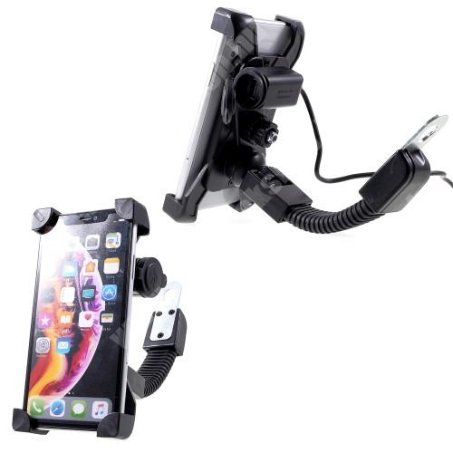 """Elephone P3000 UNIVERZÁLIS motoros telefon tartó - 360°-ban forgatható, állítható bölcsővel, USB töltő aljzattal beépítése szakértelmet igényel!, 4-6"""" készülékekhez - FEKETE"""