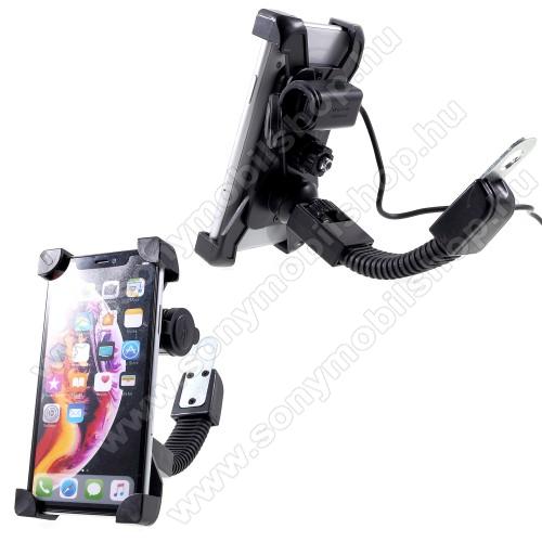 SONY Xperia U (ST25i)UNIVERZÁLIS motoros telefon tartó - 360°-ban forgatható, állítható bölcsővel, USB töltő aljzattal, 4-6