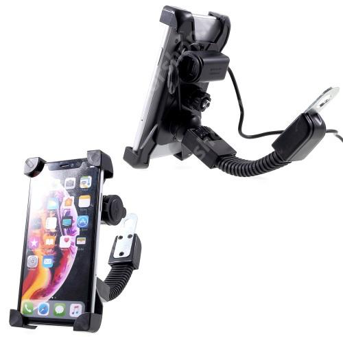 """HUAWEI Honor 9 UNIVERZÁLIS motoros telefon tartó - 360°-ban forgatható, állítható bölcsővel, USB töltő aljzattal beépítése szakértelmet igényel!, 4-6"""" készülékekhez - FEKETE"""