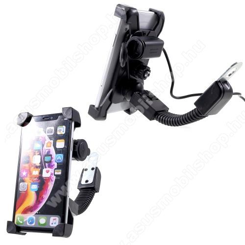 UNIVERZÁLIS motoros telefon tartó - 360°-ban forgatható, állítható bölcsővel, USB töltő aljzattal beépítése szakértelmet igényel!, 4-6