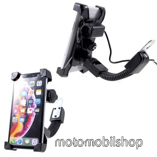 """MOTOROLA Aura UNIVERZÁLIS motoros telefon tartó - 360°-ban forgatható, állítható bölcsővel, USB töltő aljzattal, 4-6"""" készülékekhez - FEKETE"""
