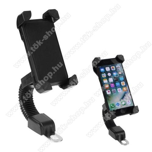 UNIVERZÁLIS motoros telefon tartó - 360°-ban forgatható, minimum 123mm x 63mm, maximum 180mm x 90mm-ig állítható bölcsővel - FEKETE