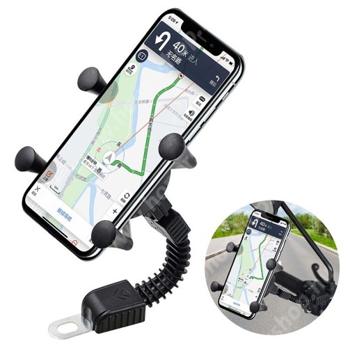 HUAWEI Honor V40 5G UNIVERZÁLIS motoros telefon tartó - 360°-ban forgatható, csúszásgátló, gyorskioldós, 26mm-80mm-ig állítható bölcsővel - FEKETE