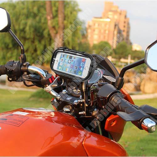 Elephone P3000 UNIVERZÁLIS motoros telefon tartó - 360°-ban forgatható, 145 x 75mm-es zárt, zipzáras bölcsővel - FEKETE