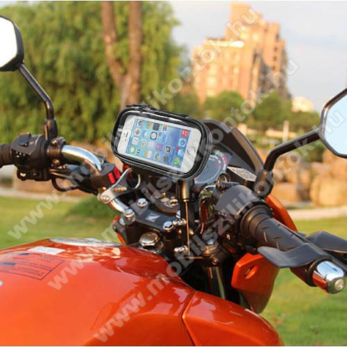 UNIVERZÁLIS motoros telefon tartó - 360°-ban forgatható, 145 x 75mm-es zárt, zipzáras bölcsővel - FEKETE