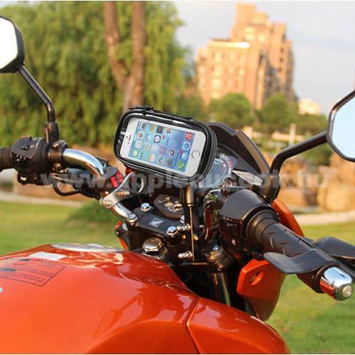 UNIVERZ�LIS motoros telefon tart� - 360�-ban forgathat�, 145 x 75mm-es z�rt, zipz�ras b�lcs?vel - FEKETE