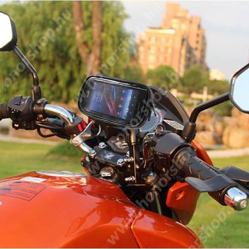 HUAWEI Honor V40 5G UNIVERZÁLIS motoros telefon tartó konzol mobiltelefon készülékekhez - 360°-ban forgatható, cseppálló védő tokos kialakítás, belső méret: 165 x 90mm - FEKETE
