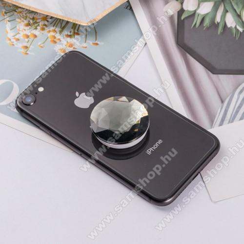 SAMSUNG Galaxy Tab 3 10.1 (GT-P5220)UNIVERZÁLIS műanyag ujjtámasz - GYÉMÁNT FORMÁJÚ - Biztos fogás készülékéhez, fülhallgató feltekerhető rá - FEKETE