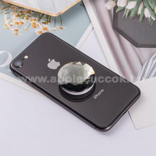 APPLE IPhone 5SUNIVERZÁLIS műanyag ujjtámasz - GYÉMÁNT FORMÁJÚ - Biztos fogás készülékéhez, fülhallgató feltekerhető rá - FEKETE
