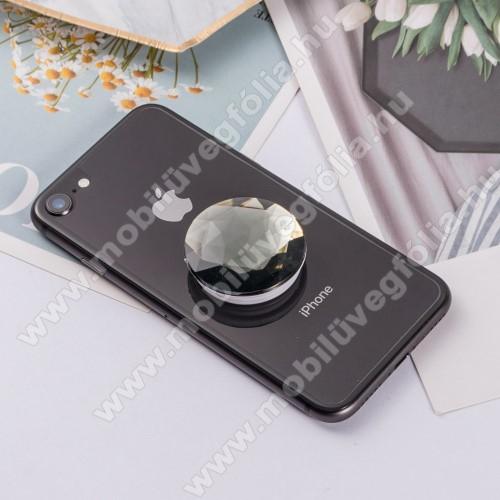 ALCATEL Smart Tab 7UNIVERZÁLIS műanyag ujjtámasz - GYÉMÁNT FORMÁJÚ - Biztos fogás készülékéhez, fülhallgató feltekerhető rá - FEKETE