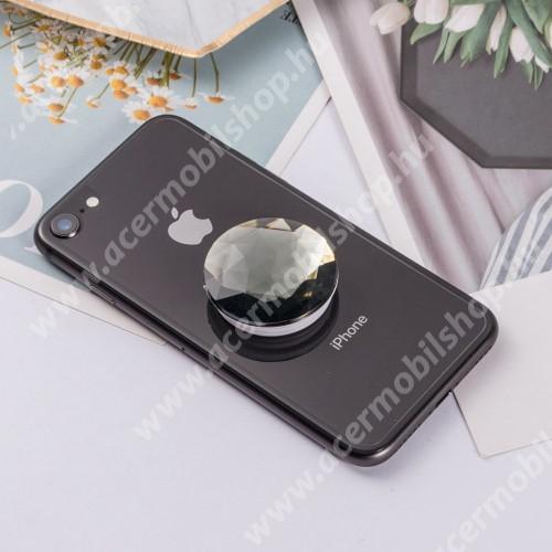 UNIVERZÁLIS műanyag ujjtámasz - GYÉMÁNT FORMÁJÚ - Biztos fogás készülékéhez, fülhallgató feltekerhető rá - FEKETE