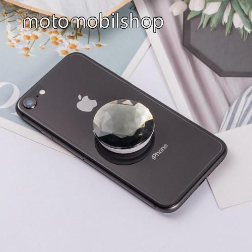 MOTOROLA Atrix HD (MB886) UNIVERZÁLIS műanyag ujjtámasz - GYÉMÁNT FORMÁJÚ - Biztos fogás készülékéhez, fülhallgató feltekerhető rá - FEKETE