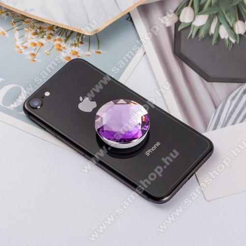 SAMSUNG Galaxy Tab 3 10.1 (GT-P5220)UNIVERZÁLIS műanyag ujjtámasz - GYÉMÁNT FORMÁJÚ - Biztos fogás készülékéhez, fülhallgató feltekerhető rá - LILA