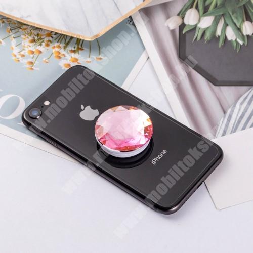 NOKIA Lumia 610 UNIVERZÁLIS műanyag ujjtámasz - GYÉMÁNT FORMÁJÚ - Biztos fogás készülékéhez, fülhallgató feltekerhető rá - RÓZSASZÍN