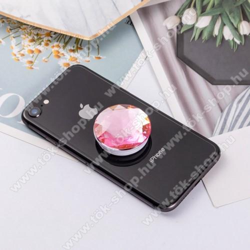 SAMSUNG Galaxy Tab Active Pro (Wi-Fi) (SM-T545)UNIVERZÁLIS műanyag ujjtámasz - GYÉMÁNT FORMÁJÚ - Biztos fogás készülékéhez, fülhallgató feltekerhető rá - RÓZSASZÍN