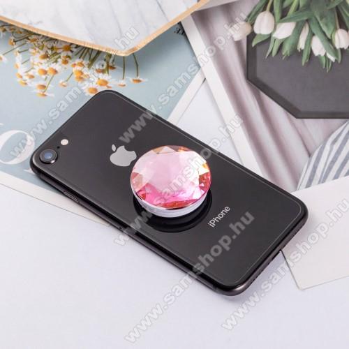 SAMSUNG Galaxy S4 mini (GT-I9190)UNIVERZÁLIS műanyag ujjtámasz - GYÉMÁNT FORMÁJÚ - Biztos fogás készülékéhez, fülhallgató feltekerhető rá - RÓZSASZÍN