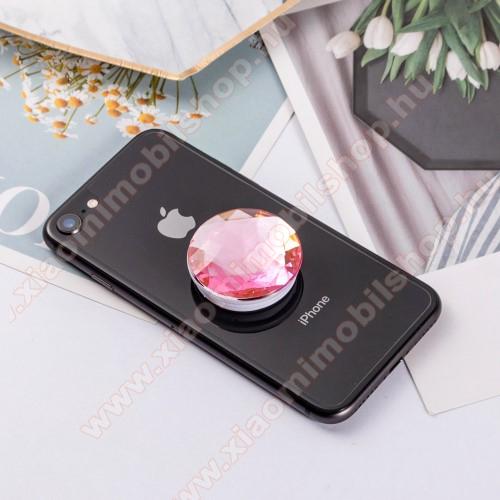 Xiaomi MI-1sUNIVERZÁLIS műanyag ujjtámasz - GYÉMÁNT FORMÁJÚ - Biztos fogás készülékéhez, fülhallgató feltekerhető rá - RÓZSASZÍN