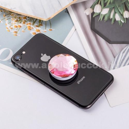 APPLE iPhone 8 PlusUNIVERZÁLIS műanyag ujjtámasz - GYÉMÁNT FORMÁJÚ - Biztos fogás készülékéhez, fülhallgató feltekerhető rá - RÓZSASZÍN