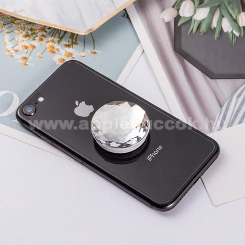 APPLE iPhone 2GUNIVERZÁLIS műanyag ujjtámasz - GYÉMÁNT FORMÁJÚ - Biztos fogás készülékéhez, fülhallgató feltekerhető rá - EZÜST