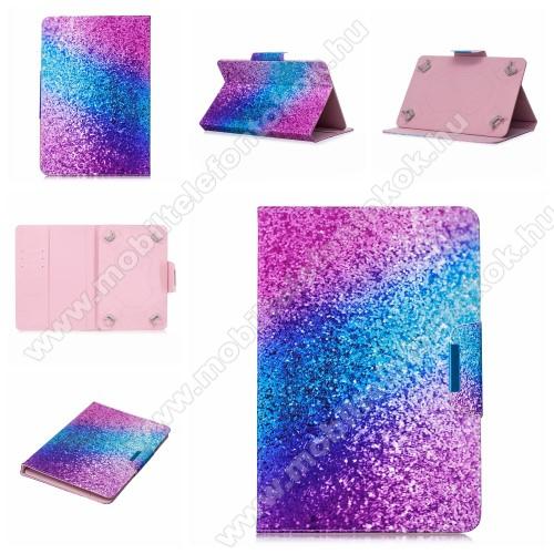 UNIVERZÁLIS notesz / mappa tablet PC tok - SZÍNES CSILLÁM MINTÁS - álló, bőr, mágneses, asztali tartó funkciós, 10