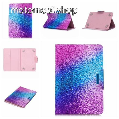 """UNIVERZÁLIS notesz / mappa tablet PC tok - SZÍNES CSILLÁM MINTÁS - álló, bőr, mágneses, asztali tartó funkciós, 10"""" készülékekhez"""