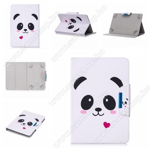 SAMSUNG P7100 Galaxy Tab 10.1vUNIVERZÁLIS notesz / mappa tablet PC tok - PANDA / SZÍV MINTÁS - álló, bőr, mágneses, asztali tartó funkciós, 10
